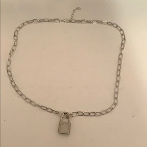 silver padlock chain necklace!